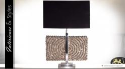 Lampe noir et chrome avec ornementation en coquillages 75 cm