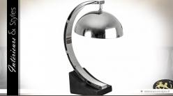 Lampe design noir et chrome en bois et métal 44 cm