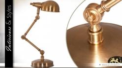 Lampe de bureau à bras articulé en laiton doré ancien 64 cm