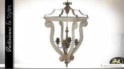 Lustre baroque en bois et métal avec 4 points lumineux