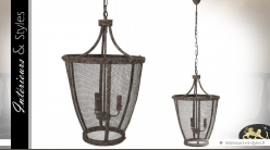 Grande suspension en forme de lanterne grillagée antique 3 feux