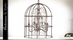 Suspension à 5 feux en cage à oiseaux vieillie avec pampilles