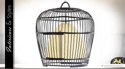 Grande suspension en forme de cage à oiseaux en bambou
