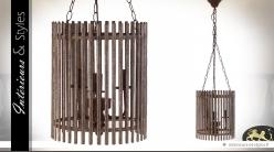 Suspension en métal en forme de cuve cylindrique rustique