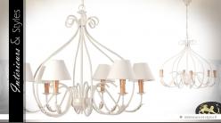 Grand lustre baroque blanc crème en métal à 6 points lumineux Ø 78 cm