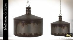 Suspension cylindrique rétro industriel en métal oxydé Ø 41 cm