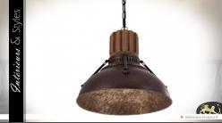 Suspension industrielle de style rétro en métal oxydé Ø 41 cm
