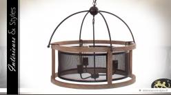 Grande suspension cylindrique en bois et métal grillagé Ø 64 cm