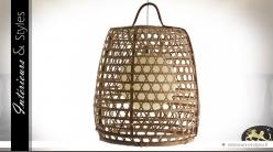 Luminaire suspendu en bambou de style exotique 62 cm