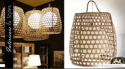 Luminaire suspendu en bambou de style exotique 65 cm