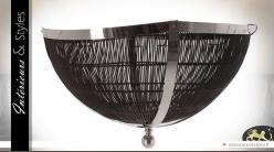 Plafonnier semi-sphérique design en métal chromé et rotin Ø 112 cm