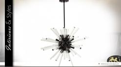 Suspension design en métal et verre effet rayonnement Ø 80 cm