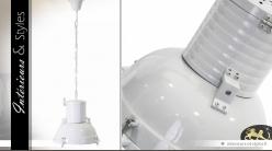 Suspension industrielle rétro blanche Ø 40 cm