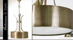 Suspension indus et rétro en laiton doré ancien Ø 62 cm