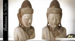 Buste de bouddha sculpté en acacia massif 100 cm