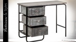 Bureau style industriel bois et métal vieillis tiroirs