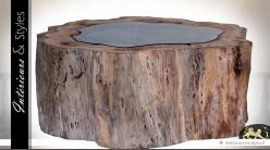 Table basse en suar massif avec plateau en verre trempé