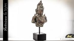 Buste féminin Art Balinais en lation vieilli sur socle métal 124 cm