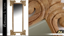 Grand miroir baroque vertical en teck massif naturel 200 cm