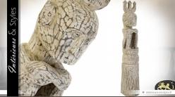 Sculpture artisanale Art Primitif en acacia massif 160 cm