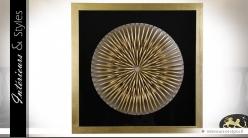 Grand cadre carré noir et or en pin, lin et verre 90 x 90 cm