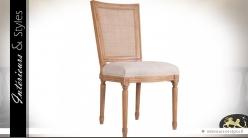 Chaise d'inspiration Louis XVI dossier canné et assise en toile