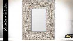 Grand miroir rectangulaire de style oriental blanc antique 150 cm