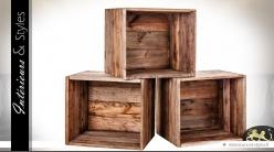 Caisses étagères modulables en acajou médium vieilli (lot de 3)