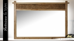 Très grand miroir en mindi naturel avec panneau sculpté 191 cm