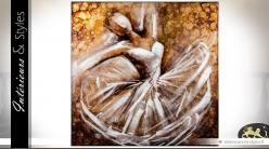 Tableau carré en toile sur caneva bois peinture danseuse de ballet