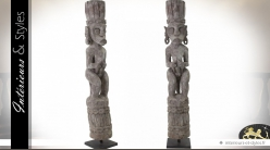 Grande sculpture artisanale Art Primitif personnage 100 cm