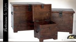 Tables basses coffres en bois et métal de style rustique