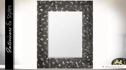 Grand miroir en métal coloris noir aspect vieilli 110 cm
