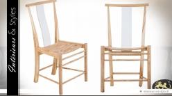 Chaise design blanc et bois naturel en mindi