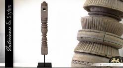 Sculpture colonne ethnique sur bois recyclé 60 cm