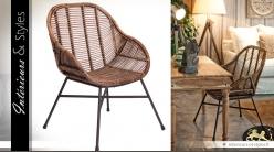 Siège baquet fauteuil rotin style design et exotique