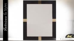 Miroir design rectangulaire similicuir noir et métal doré brillant 110 xm