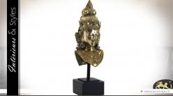 Grande statuette en bronze balinaise avec coiffe traditionnelle 87 cm