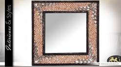 Grand miroir carré en teck à décors de coquillages 100 x 100 cm