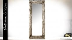 Grand miroir style rétro brocante patine blanche ancienne 190 cm