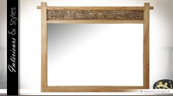 Grand miroir en mindi naturel avec panneau sculpté 155 cm