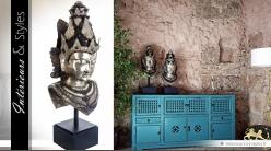 Statuette en laiton : tête de femme culture orientale 87 cm