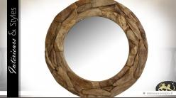 Grand miroir rond en teck recyclé Ø 100 cm