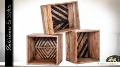 Caisses étagères modulables en bois avec motifs (lot de 3)