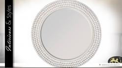 Grand miroir blanc rond en cordage et coquillages Ø 85 cm