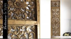 Panneau décoratif sculpté vertical patine dorée 200 cm