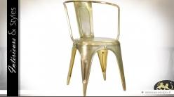 Chaise à accoudoirs vintage finition laiton doré