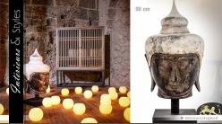 Grande tête de bouddha sculptée en manguier 90 cm