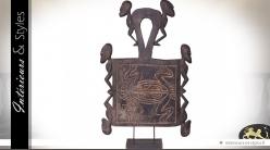 Grande sculpture artisanale en acacia style Art Premier 88 cm