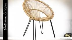 Fauteuil design circulaire en rotin clair
